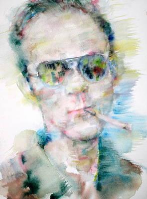 Hunter S. Thompson Painting - Hunter S. Thompson - Watercolor Portrait by Fabrizio Cassetta