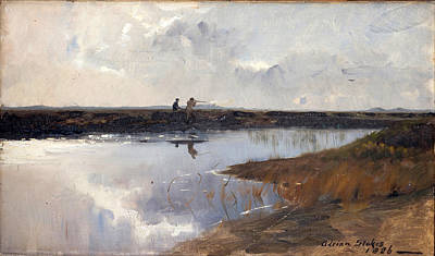 Hunters On The Moor North Of Skagen Print by Adrian Scott Stokes