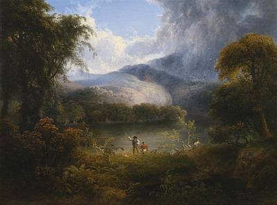 Hunters With A Dog In A Landscape Print by Celestial Images
