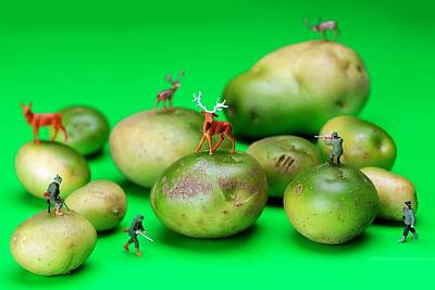 Potato Digital Art - Hunting Deer On Yellow Green Potatoes Miniature Art  by Paul Ge
