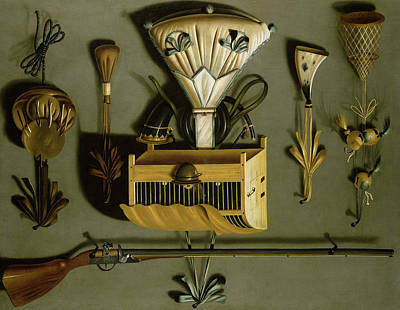 Cage Photograph - Hunting Equipment Oil On Canvas by Johannes Leemans