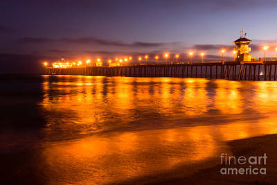 Huntington Beach Pier At Night Print by Paul Velgos