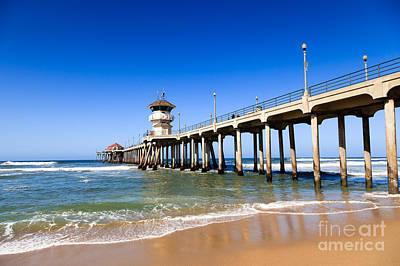Huntington Beach Pier In Southern California Print by Paul Velgos