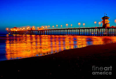 California Surfing Photograph - Huntington Beach Pier - Nightside by Jim Carrell