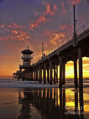 Huntington Beach Pier Print by Peggy J Hughes