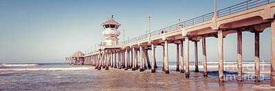 Huntington Beach Pier Retro Panorama Picture Print by Paul Velgos