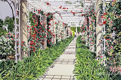 Huntington Rose Arbor Print by David Lloyd Glover
