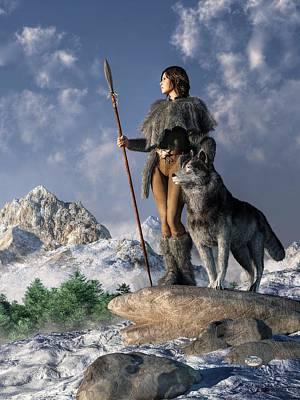 Huntress And Wolf Print by Daniel Eskridge
