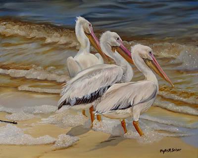 Hurricane Issac Pelicans Print by Phyllis Beiser