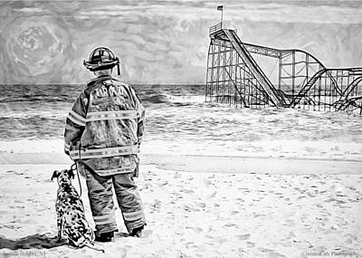 Seaside Heights Digital Art - Hurricane Sandy Black And White by Jessica Cirz