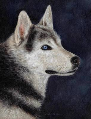 Canines Art Painting - Husky Portrait Painting by Rachel Stribbling