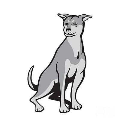 Husky Shar Pei Cross Dog Sitting Cartoon Print by Aloysius Patrimonio