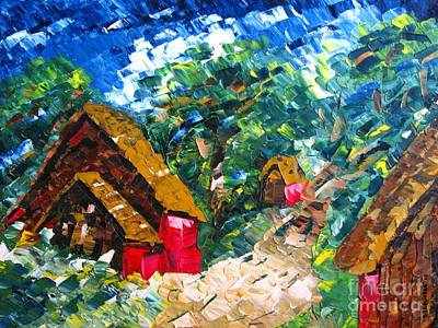 Huts Painting - Hut On The Hill Oil Painting by Mario Perez