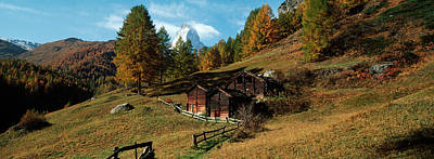 Huts With The Mt Matterhorn Print by Panoramic Images