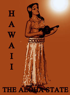Hula Girl Art Painting - Travel To The Aloha State by David Lee Thompson