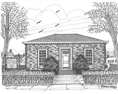 Hyde Park Drawing - Hyde Park Public Library by Richard Wambach
