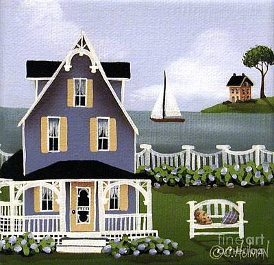 Country Cottage Painting - Hydrangea Cove by Catherine Holman