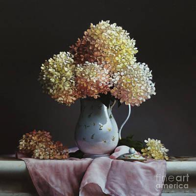 Tea Pot Painting - Hydrangea by Larry Preston