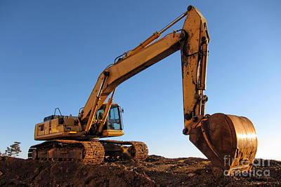 Hydraulic Excavator Print by Olivier Le Queinec