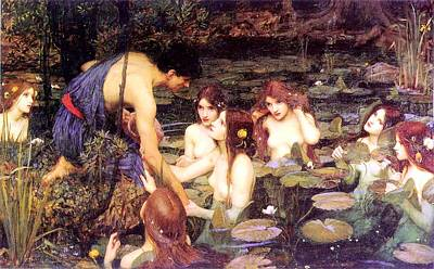 Hylas And The Nymphs Print by John William Waterhouse