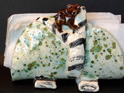 Sculpture - I Can Bear It Napkin Holder Back Side by Debbie Limoli