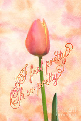 I Feel Pretty Oh So Pretty Orange Tulip Watercolor Background Print by Beverly Claire Kaiya