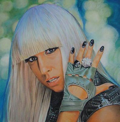 Lady Ga Ga Drawing - I Glove You.. by Gary Fernandez