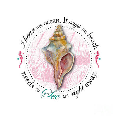 I Hear The Ocean. It Says The Beach Needs To See Me Right Away. Print by Amy Kirkpatrick