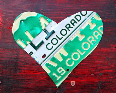 Colorado Mixed Media - I Heart Colorado License Plate Art by Design Turnpike