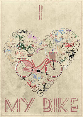 Bicycling Mixed Media - I Heart My Bike by Andy Scullion
