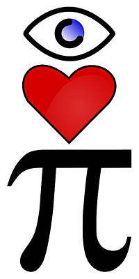 Pi Digital Art - I Heart Pi by Ron Hedges