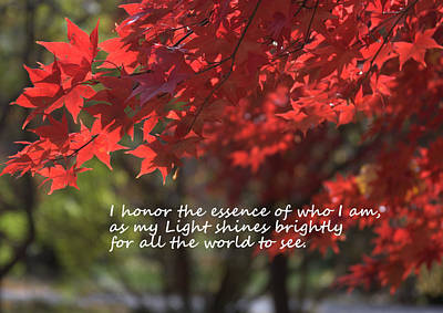 I Honor The Essence Of Who I Am Print by Patrice Zinck