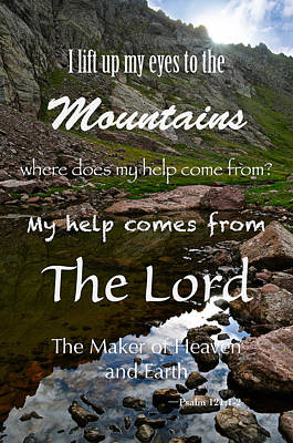 I Lift My Eyes To The Mountains Psalm 121 Print by Aaron Spong