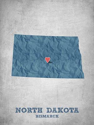Geography Digital Art - I Love Bismarck North Dakota - Blue by Aged Pixel