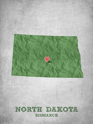 Global Digital Art - I Love Bismarck North Dakota - Green by Aged Pixel