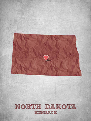 Global Digital Art - I Love Bismarck North Dakota - Red by Aged Pixel