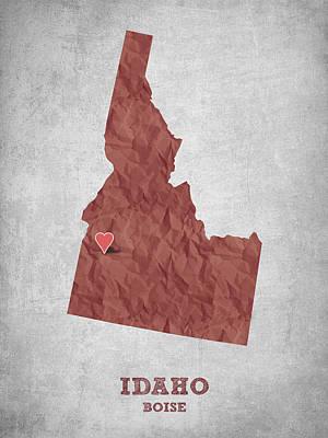 Global Digital Art - I Love Boise Idaho- Red by Aged Pixel
