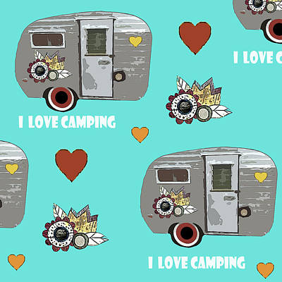 July Painting - I Love Camping Pattern by Sarah Ogren