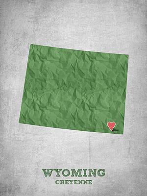 Global Digital Art - I Love Cheyenne Wyoming - Green by Aged Pixel
