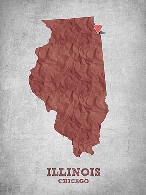 I Love Chicago Illinois - Red Print by Aged Pixel