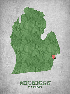 Michigan State Digital Art - I Love Detroit Michigan - Green by Aged Pixel