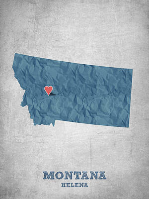 State Of Montana Drawing - I Love Helena Montana - Blue by Aged Pixel