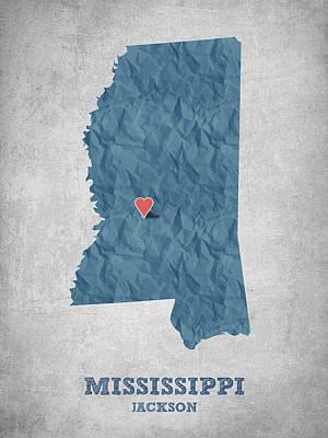 Global Digital Art - I Love Jackson Mississippi - Blue by Aged Pixel