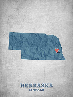 Lincoln City Drawing - I Love Lincoln Nebraska - Blue by Aged Pixel
