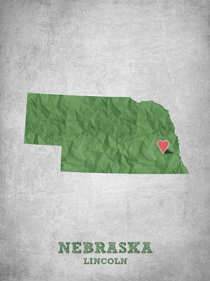 Lincoln City Drawing - I Love Lincoln Nebraska - Green by Aged Pixel