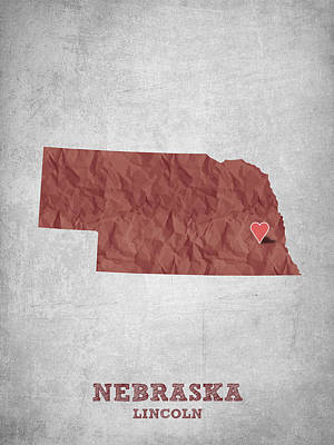 Lincoln City Drawing - I Love Lincoln Nebraska - Red by Aged Pixel