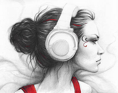 Red Drawing - I Love Music by Olga Shvartsur