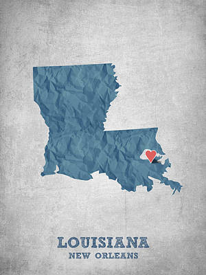 Mississippi State Map Digital Art - I Love New Orleans Louisiana - Blue by Aged Pixel