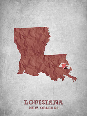 Mississippi State Map Digital Art - I Love New Orleans Louisiana - Red by Aged Pixel