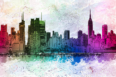 Empire State Digital Art - I Love New York by Susan Candelario